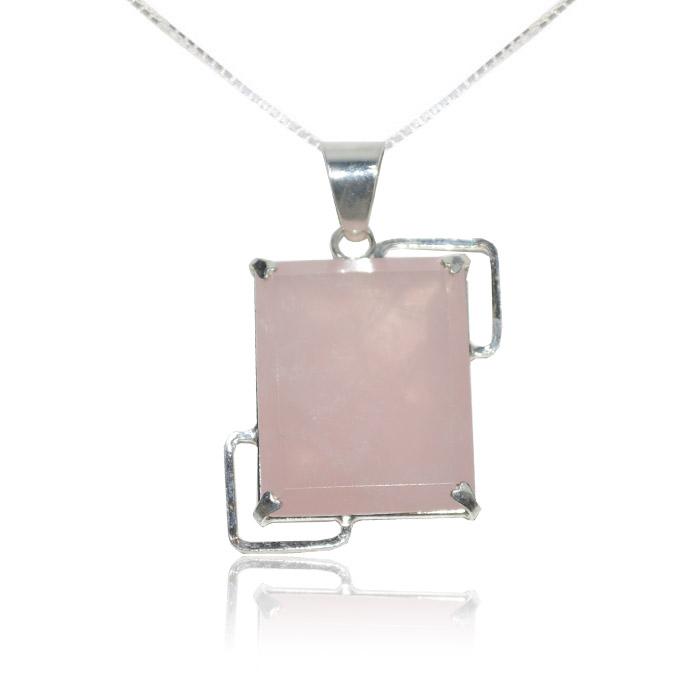 Pingente quartzo rosa natural artstones