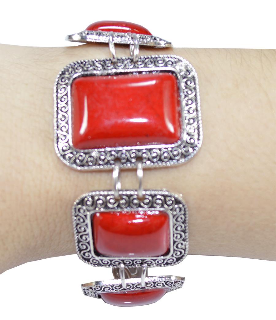 pulseira de howlita coral