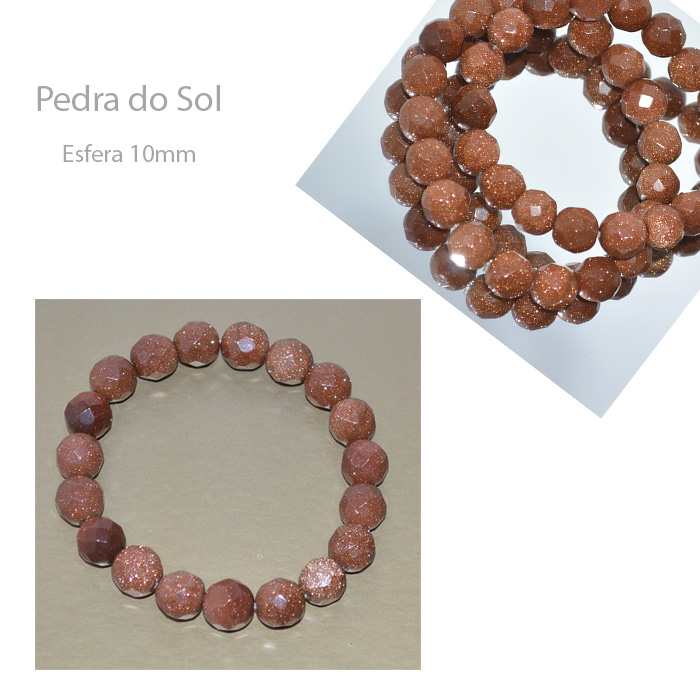 Pulseira pedra do sol facetada