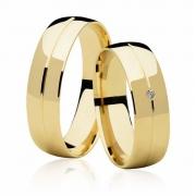 Aliança Abaulada de Prata Banhada a Ouro Noivado ou Casamento AB7095