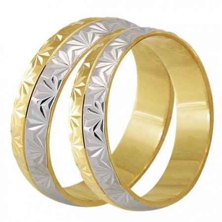 Aliança Bodas de Casamento em Ouro 18k Trabalhada - Unitária (4.80mm)