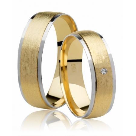 Aliança Casamento Anatômica de Ouro Amarelo e Branco Siàge - Unitária (5.80mm)