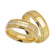 Aliança Casamento de Ouro 18k Carrê Anatômica (6.30mm)