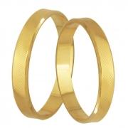 Aliança Casamento de Ouro Amarelo Grooves (3.40mm)