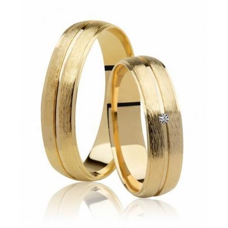 Aliança Casamento Destiny Ouro 18k Fosco e 1,5 Pontos de Diamante - Unitária (5mm)