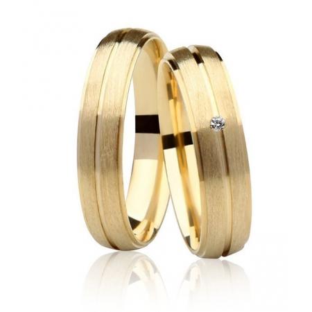 Aliança Casamento Destiny Ouro 18k Fosco e Diamante - Unitária (4.75mm)