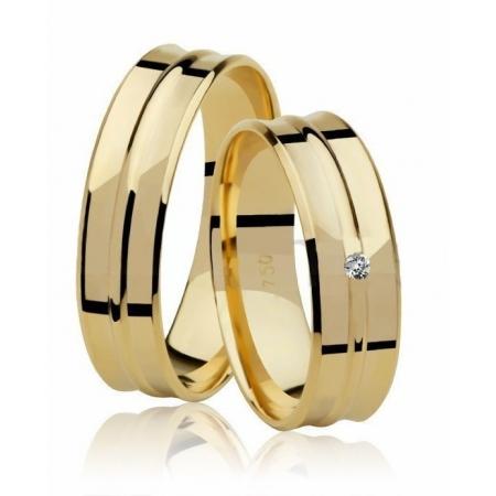 Aliança Côncava de Casamento em Ouro 18K  e 1,5 Pontos de Diamante - Unitária (5.5mm)