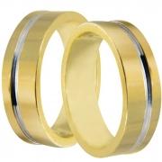 Aliança de Casamento Anatômica em Ouro Amarelo e Branco - Unitária (5.8mm)