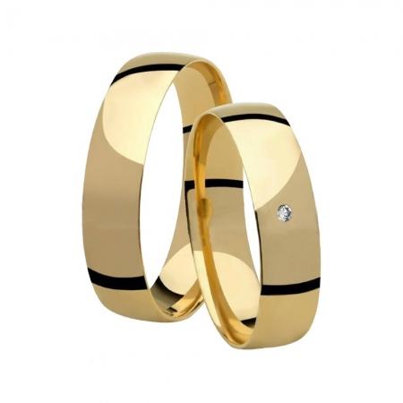 Aliança de Casamento Anatômica Ouro 18k e Diamante - Unitária (4.50mm)