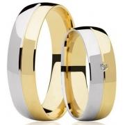 Aliança de Casamento Couple Ouro Amarelo e Branco 18k Anatômica (5.8mm)