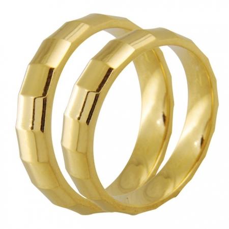 Aliança de Casamento Facets em Ouro Amarelo 18k - Unitária (4mm)
