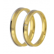Aliança de Casamento JOE Ouro Amarelo e Branco e Diamantes (2.90mm)
