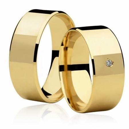 Aliança de Casamento Larga Ouro 18k e Diamante de 1,5 Pontos- Unitária  (8mm)