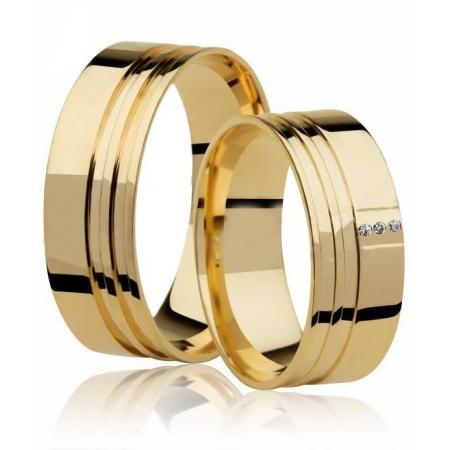 Aliança de Casamento Large Ouro 18k e 3 Pontos de Diamantes - Unitária (7mm)