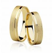 Aliança de Casamento Ouro 18k Anatômica Diamantado FRAME STONE V (5mm)