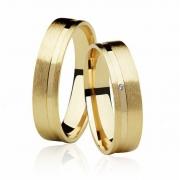 Aliança de Casamento Ouro 18k Anatômica e Fosco FRAME STONE IV (5mm)