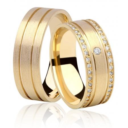 Aliança de Casamento Ouro 18k BIDEN Cravejadas em Pedras - Unitária (7.6 mm)