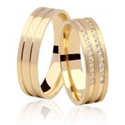 Aliança de Casamento Ouro 18k Dupla Carreira em Pedras Duo (5,5mm)