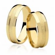 Aliança de Casamento Ouro 18k Friso Central Diamantado (6mm)