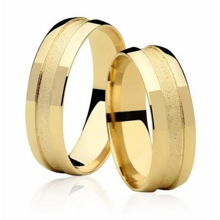 Aliança de Casamento Ouro 18k Friso Central Diamantado - Unitária (6mm)