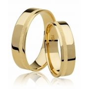 Aliança de Casamento Ouro 18k Friso Diamantado Emotion III (5mm)
