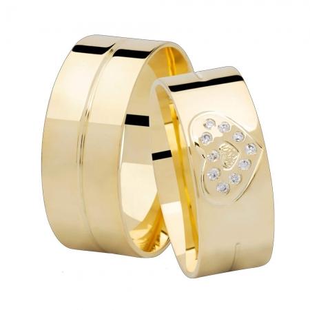 Aliança de Casamento Ouro 18k Heart - Unitária (7.85mm)