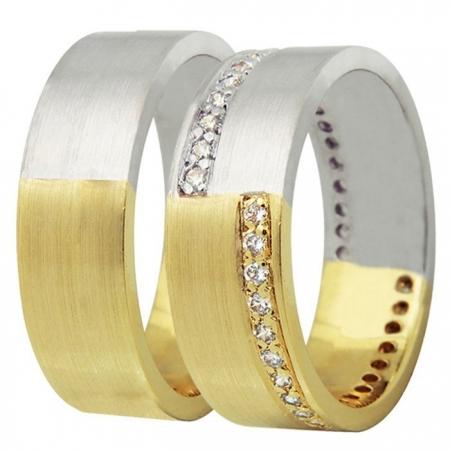 Aliança de Casamento Ouro Amarelo e Branco Dual - Unitária (6mm)