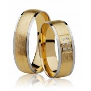Aliança de Casamento Ouro Amarelo e Branco e 6 Pontos de Diamantes (6mm)