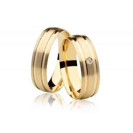 Aliança de Casamento Wish Ouro 18k Abaulada com Frisos - Unitária (7mm)