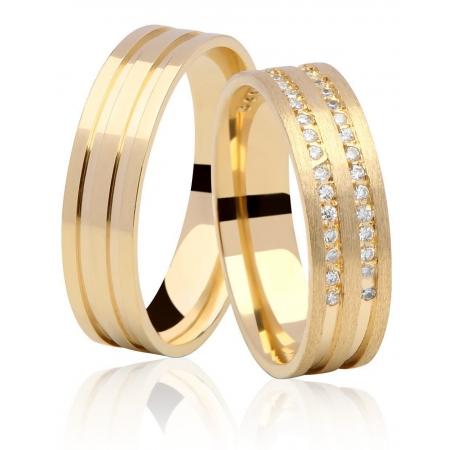 Aliança de Ouro 18k Dupla Carreira em Pedras Duo - Unitária (5mm)