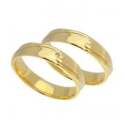 Aliança de Ouro Amarelo 18k Anatômica e Diamante - Unitária (4.45mm)