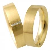 Aliança de Ouro Amarelo 18k Anatômica e Pedras (5.5mm)