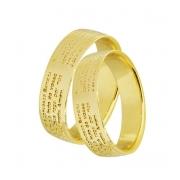 Aliança de Ouro Amarelo Oração Ave Maria e Pai Nosso (6mm)