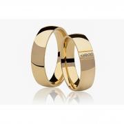 Aliança de Prata 950 Banhada a Ouro 24k Casamento AB7004