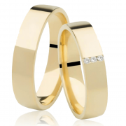 Aliança de Prata 950 Banhada a Ouro Casamento com Pedras AB7055