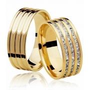 Aliança de Prata 950 Banhada a Ouro Noivado ou Casamento - AB7010