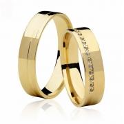 Aliança de Prata 950 Banhada a Ouro Noivado ou Casamento AB7015