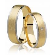 Aliança de Prata Banhada a Ouro Amarelo e Branco Noivado ou Casamento AB7094