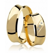 Aliança de Prata Banhada a Ouro Casamento Côncava AB7003