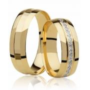 Aliança de Prata Banhada a Ouro Com Pedras AB7002