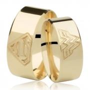 Aliança de Prata e Ouro Superman x Mulher-Maravilha Casamento AB7057