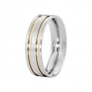 Aliança Namoro de Prata 6 mm Filetes de Ouro com Pedra de 3 mm Emotion - AP6063