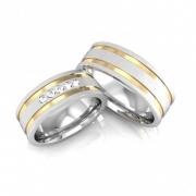 Aliança Namoro de Prata 7 mm 2 Filetes de Ouro com Pedras Two - AP6089