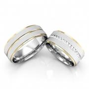 Aliança Namoro de Prata 7 mm Cravejada em Pedras Dating - AP6087
