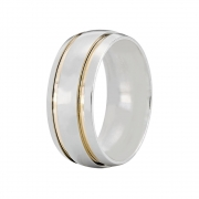 Aliança Namoro de Prata 8 mm 2 Filetes de Ouro - AP6062