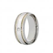 Aliança Namoro de Prata Anatômica 8 mm Bordas Diamantadas Essence - AP6061