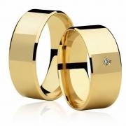 Aliança Quadrada de Prata Banhada a Ouro Casamento AB7056