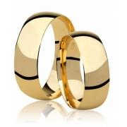 Aliança Tradicional de Prata Banhada a Ouro  Noivado 8 mm - AB7026