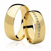 Alianças Casamento Anatômica Fusion de Ouro 18k  (6.80mm)