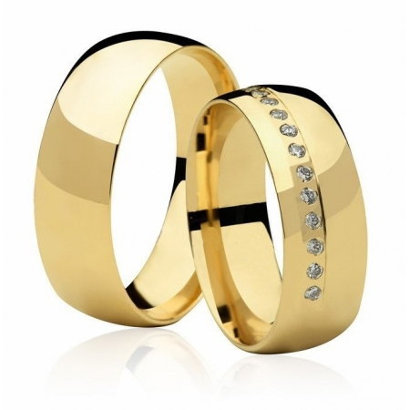 Alianças Casamento Anatômica Fusion de Ouro 18k  - Unitária (6.80mm)